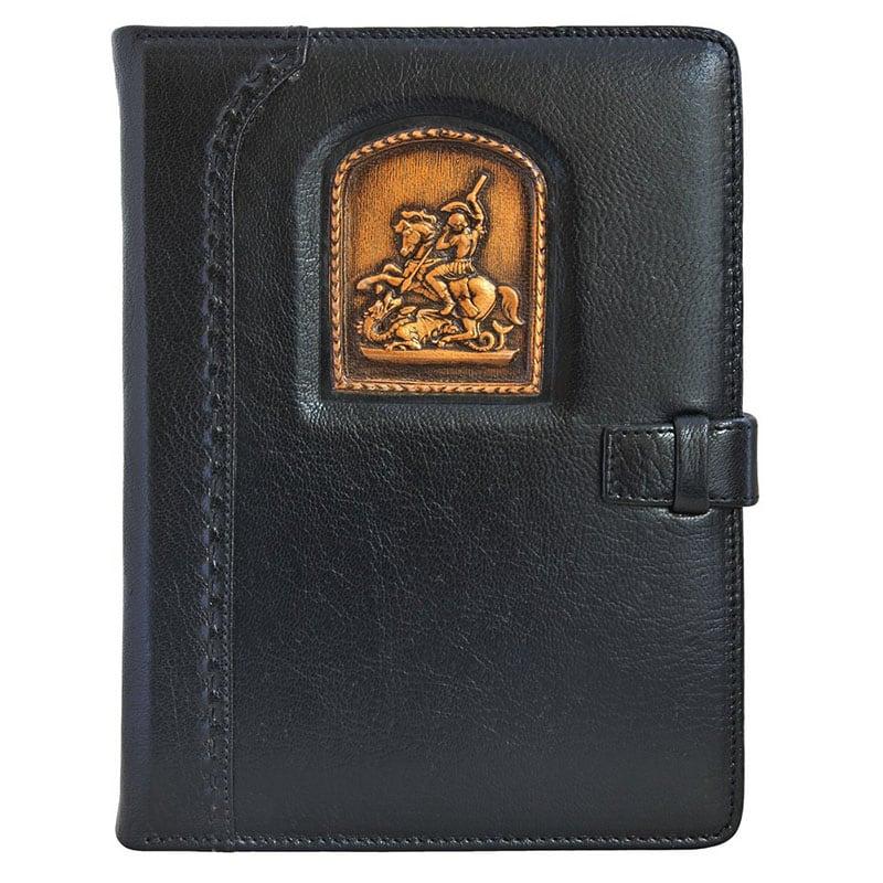 Блокнот в кожаной обложке St. Georg black leather