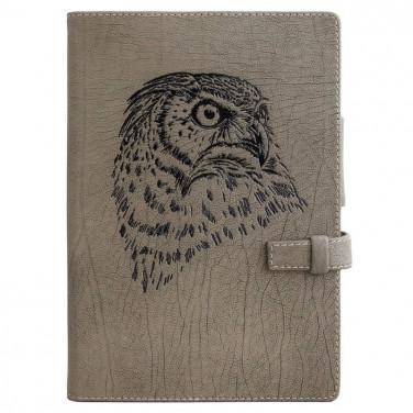 Блокнот в кожаной обложке Owl gray leather