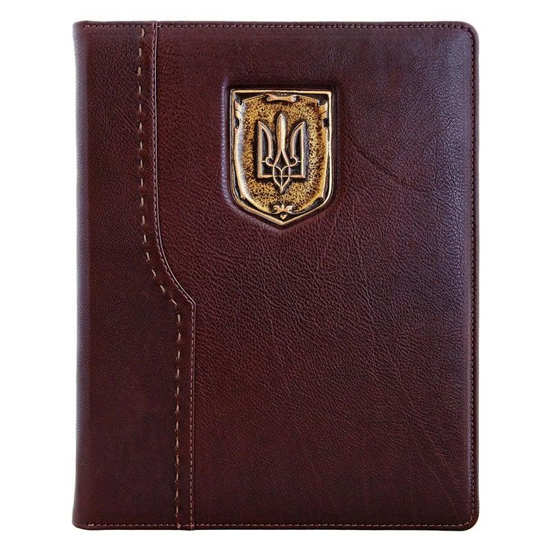 Кожаный блокнот Erbe Ukraine brown leather