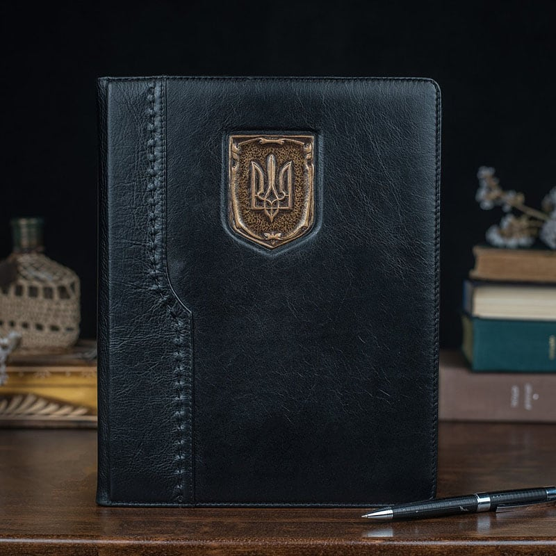 Шкіряний блокнот Erbe Ukraine brown leather