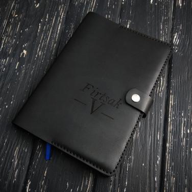 Ежедневник в кожаной обложке Рattern black leather