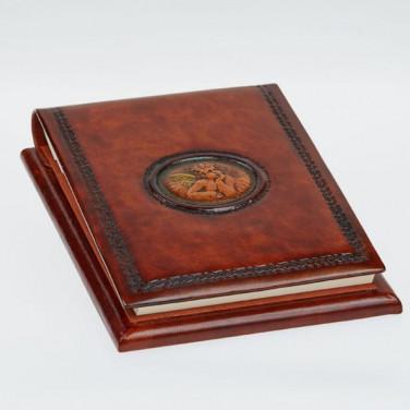 Блокнот в шкіряній палітурці Angel Raphael brown leather