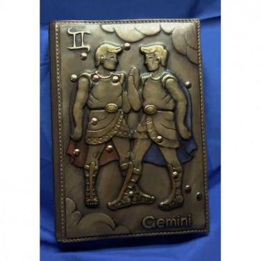 Кожаный блокнот А5 Зодиакальные Близнецы brown leather