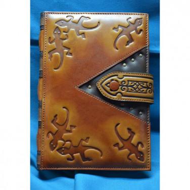 Шкіряний блокнот Вогняна Саламандра brown leather