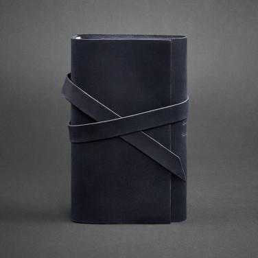 Шкіряний блокнот handmade чоловічий Diary Dark Blue Leather