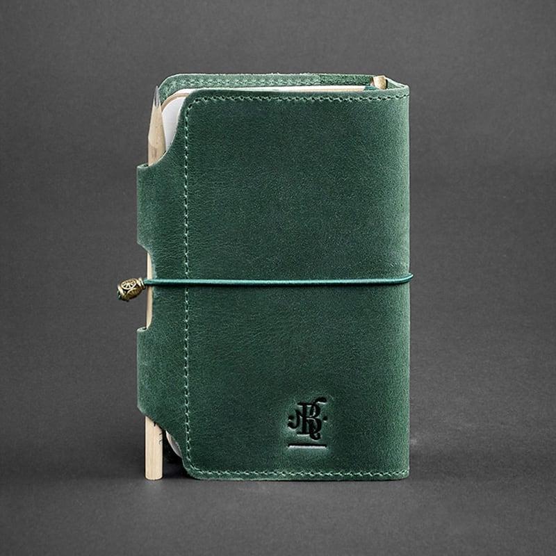 Ежедневник в кожаной обложке мужской SoftBook Green Leather
