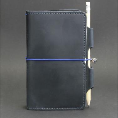 Кожаный блокнот ручной работы мужской SoftBook Dark Blue Leather