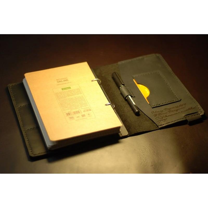 Обкладинка для щоденника зі шкіри з гравіюванням Personal brown leather