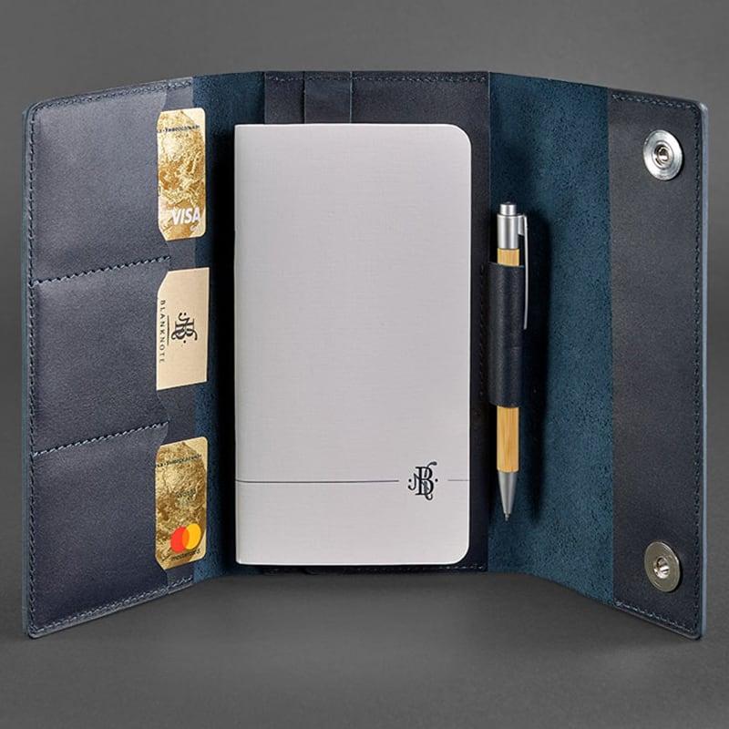 Кожаный блокнот Soft Book Royal Navy blue leather