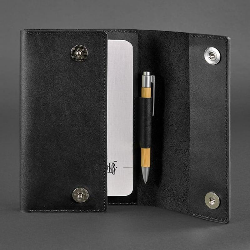 Блокнот в кожаной обложке Soft Book Graphite black leather