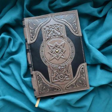Щоденник у шкіряній обкладинці Книга Магії gray leather