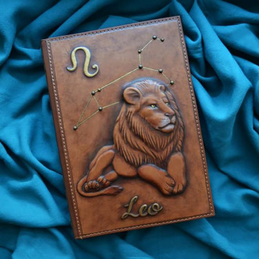 Кожаный блокнот Lion brown leather