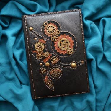 Шкіряний блокнот Стімпанк black leather