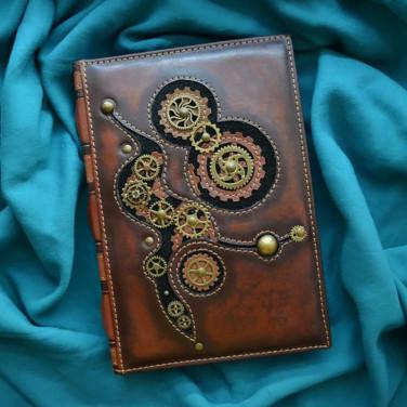 Блокнот в шкіряній обкладинці Steampunk brown leather