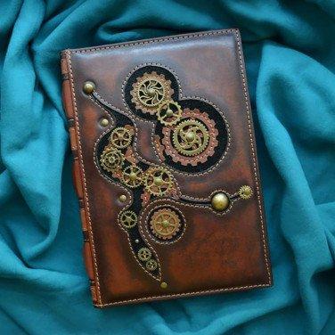 Блокнот в кожаной обложке Steampunk brown leather