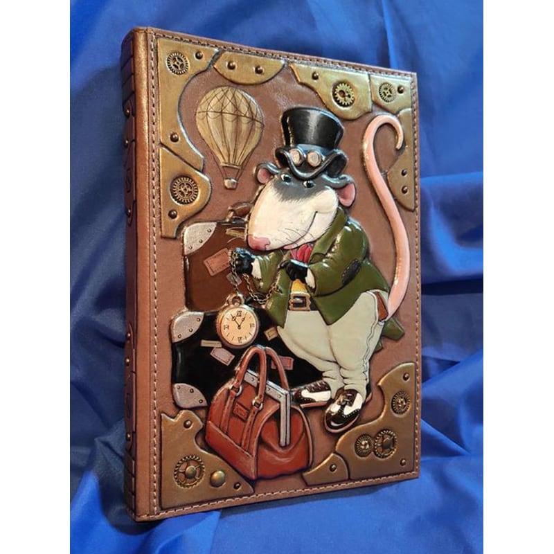 Шкіряний блокнот Rat Steampunk brown leather