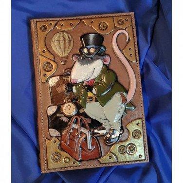 Кожаный блокнот Rat Steampunk brown leather