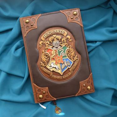 Шкіряний блокнот handmade чоловічий Хогвартс brown leather