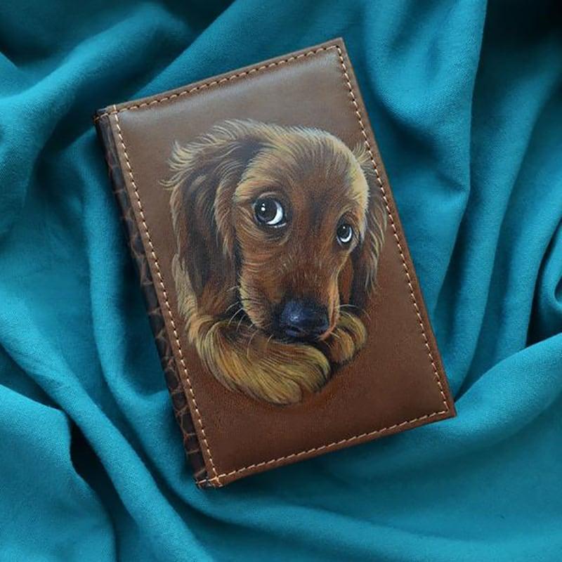 Шкіряний блокнот Рuppy Spaniel brown leather