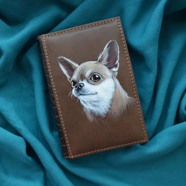 Блокнот в шкіряній палітурці Chihuahua brown leather