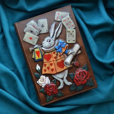 Блокнот в кожаной обложке White Rabbit brown leather