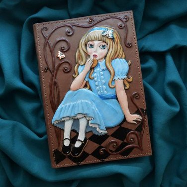 Кожаный блокнот Мagic of Lewis Carroll brown leather