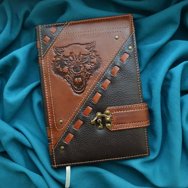 Кожаный блокнот Celtic Wolf brown leather