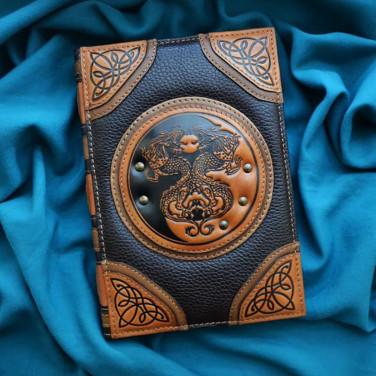 Шкіряний щоденник Yin-Yang Dragons brown leather