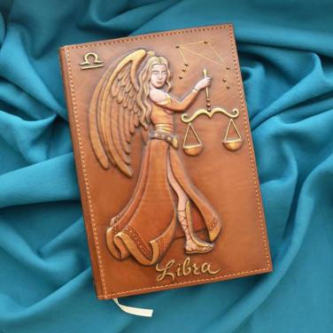 Блокнот в кожаном переплете Libra Zodiac brown leather