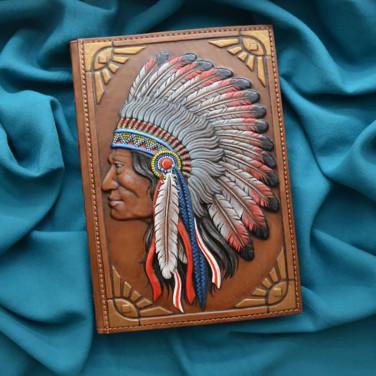 Блокнот в кожаной обложке Red Indian brown leather
