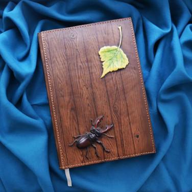 Шкіряний блокнот Stag Вeetle brown leather