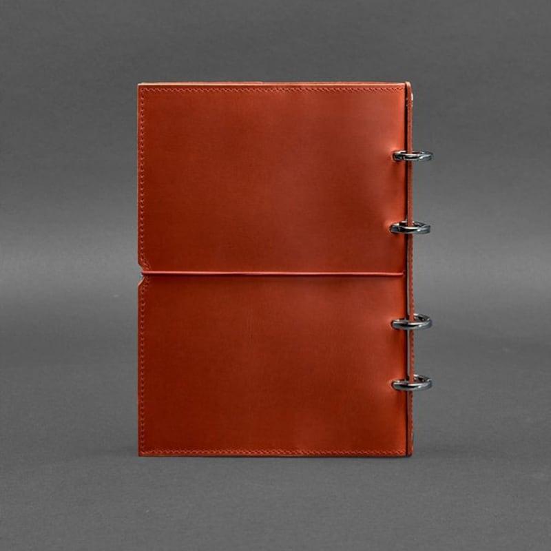 Шкіряний блокнот на кільцях Coral Brown Leather