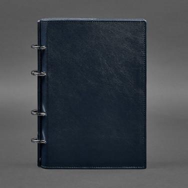Блокнот Шкіряний на кільцях Navy Blue Leather
