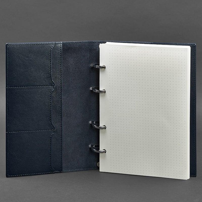 Блокнот кожаный на кольцах Navy Blue Leather