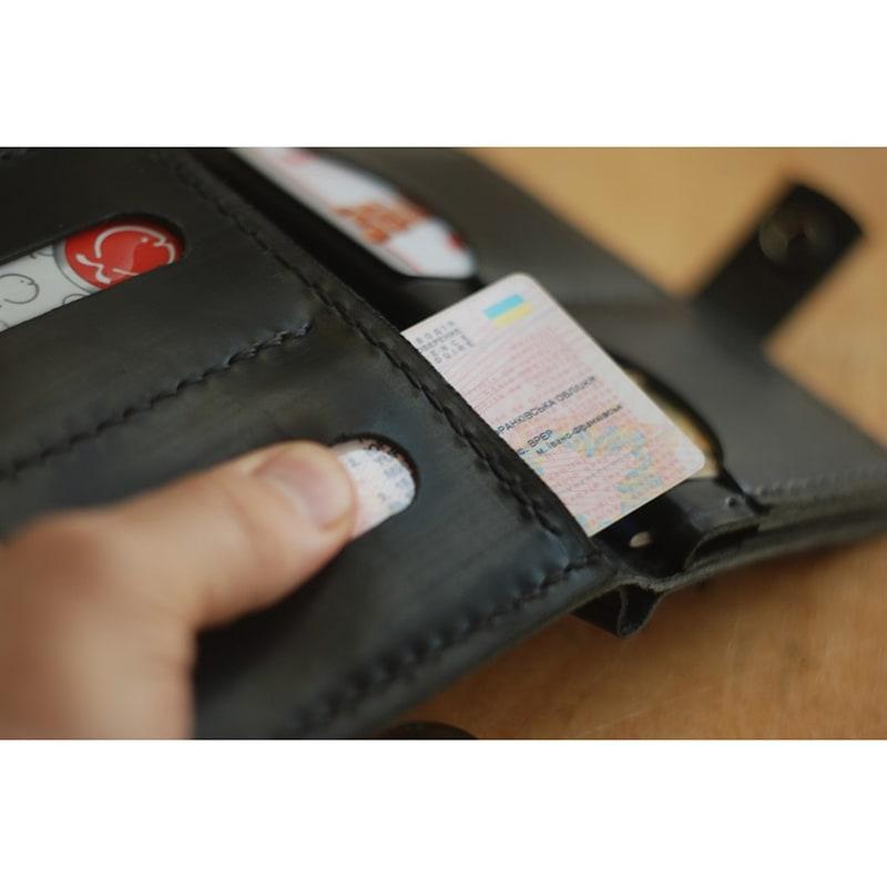 Чоловічий шкіряний гаманець Black Leather Wallet