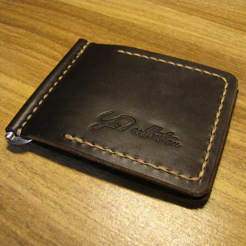 Зажим для купюр кожаный Wallet Brown Leather