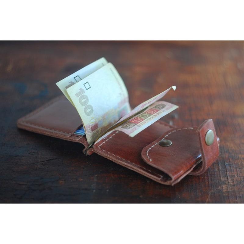 Затискач для купюр чоловічий Brown Leather Wallet
