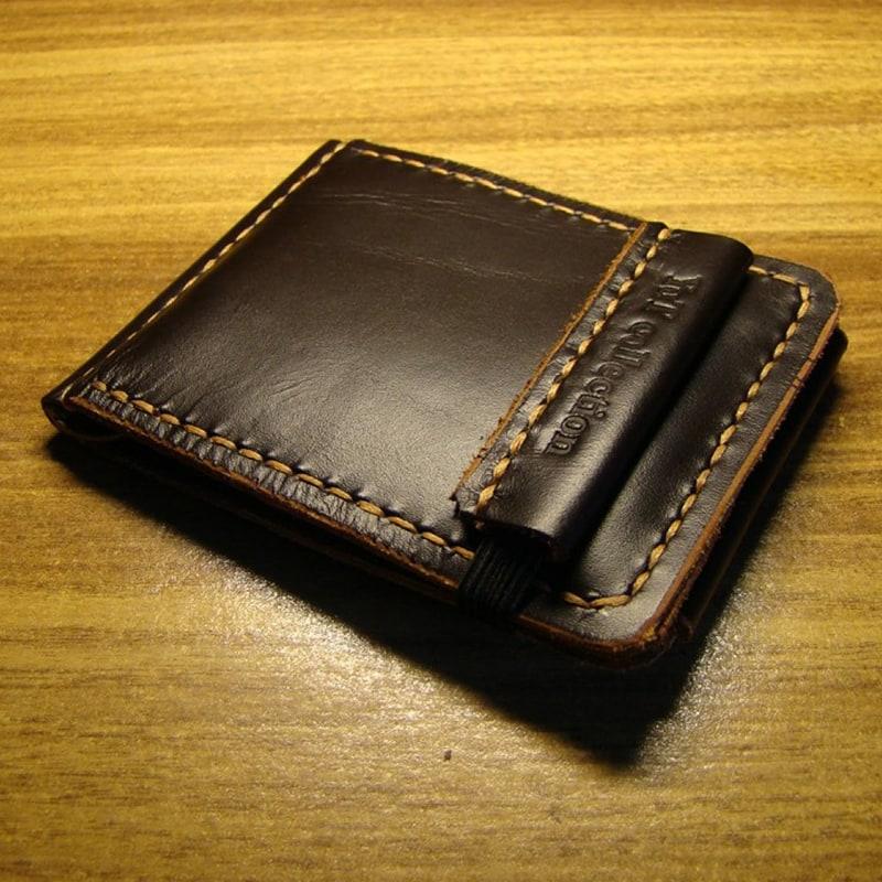 Гаманець чоловічий з затиском Brown Leather Wallet