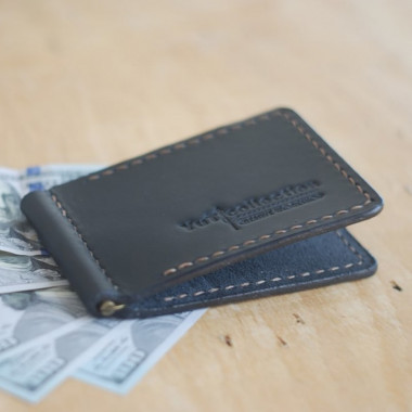 Гаманець чоловічий з затиском Black Leather Wallet