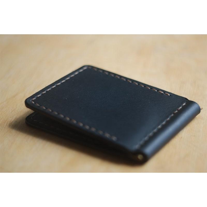 Кошелек мужской с зажимом Wallet Black Leather