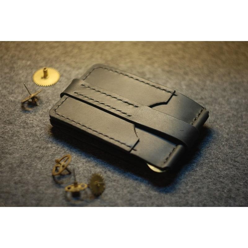 Кошелек мужской кожаный с зажимом Wallet Black Leather
