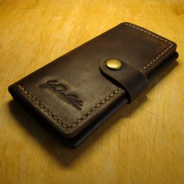 Чоловічий гаманець з чохлом для смартфона Purse Brown Leather