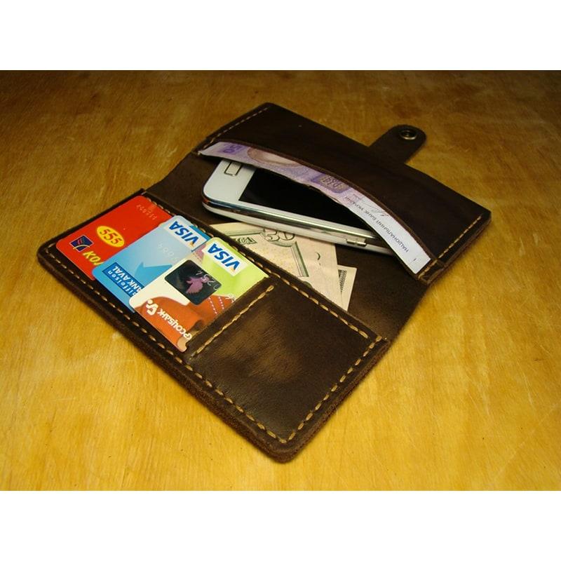 Мужской кошелек с чехлом для смартфона Purse Brown Leather