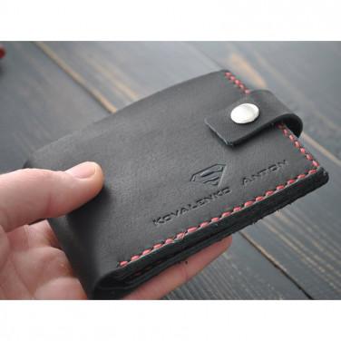 Мужское портмоне кожаное Purse Style black leather