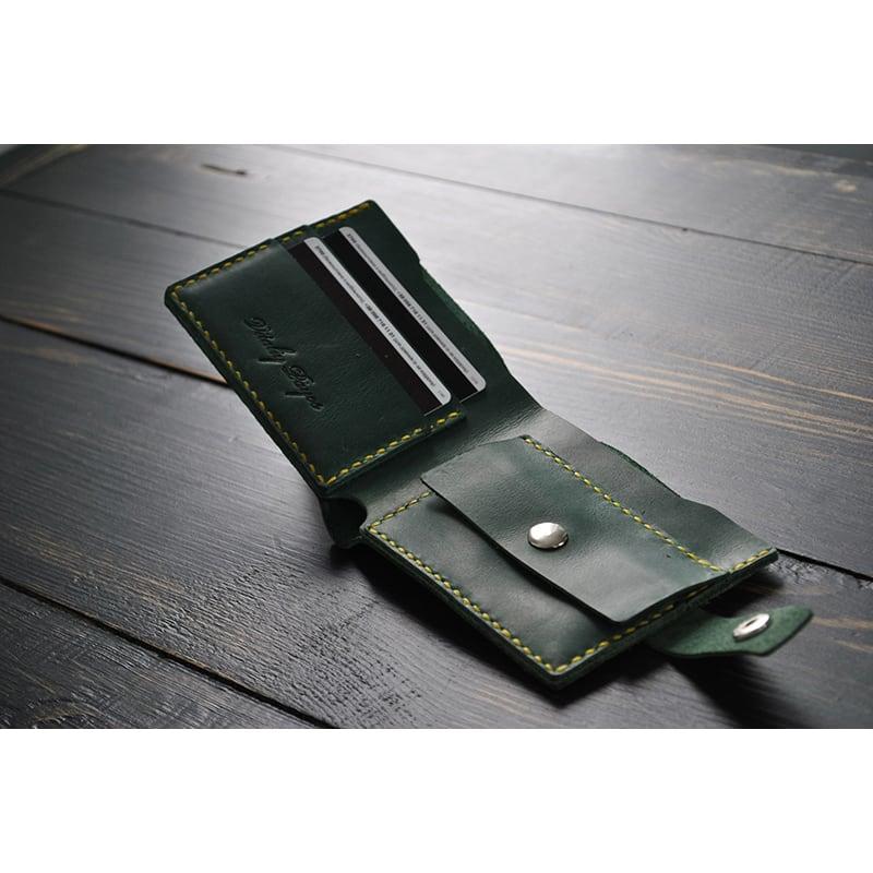 Чоловічий гаманець Purse Emerald green leather