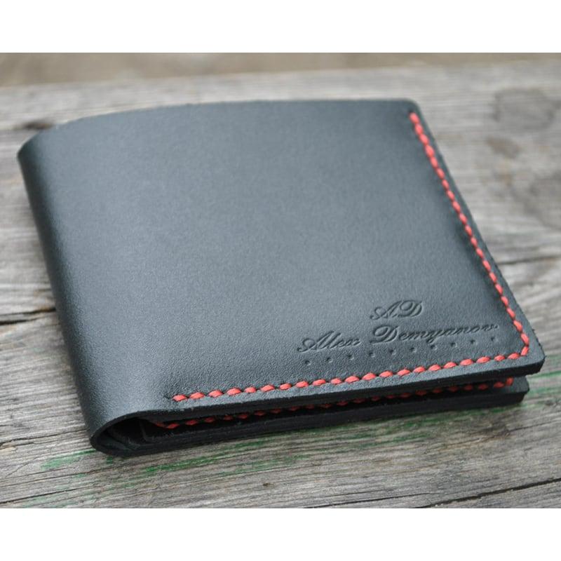 Мужской кошелек Purse Contrast black leather