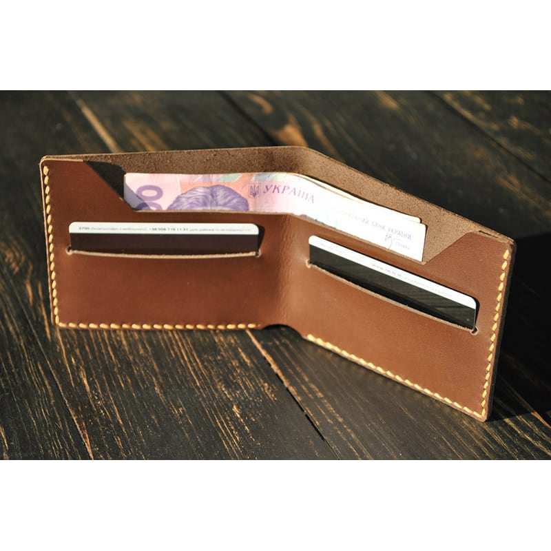 Мужской кожаный кошелек Purse Cognac brown leather