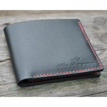 Чоловічий гаманець Purse Contrast black leather