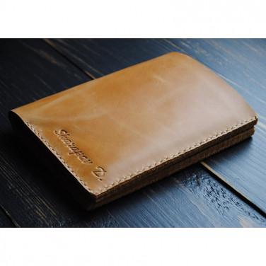 Портмоне кожаное мужское Purse Tobacco brown leather