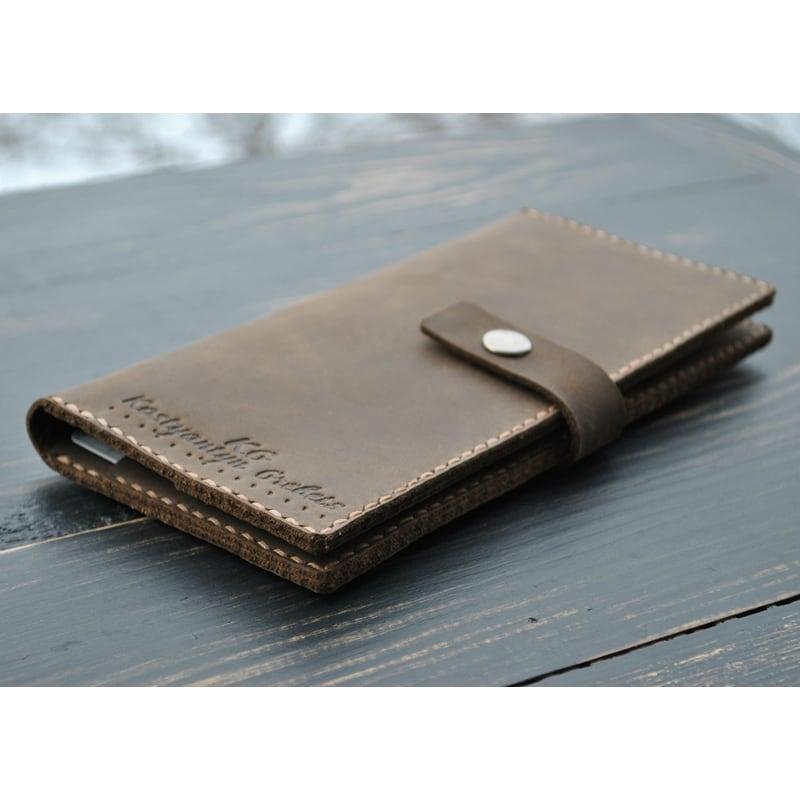 Мужской кожаный кошелек Wallet Terracotta brown leather